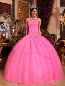 Strapless Appliqued Rose Pink Quinceanera Dress in Coatepeque