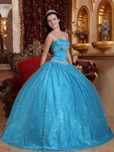 Spaghetti Straps Sequin Appliqued Blue Quinceanera dresses