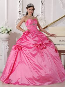 Cheap Hot Pink Sweetheart Beaded Flowers Quinceanera Dresses