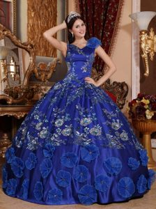 V-neck Appliqued Blue Sweet 15/16 Birthday Dress with Flowers