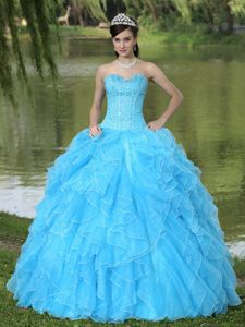 Famous Corset Back Ruffled Beaded Aqua Blue Sweet 16 Dress