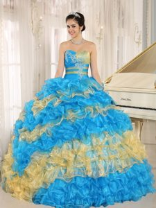 Multi-color Ruffled Layers Sweet 15 Dresses in Chimaltenango