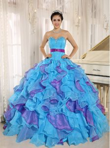 2013 Two-toned Ruffled Rhinestones Quinceanera gown dress