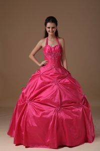 Groovy Halter Coral Red Beaded Dress for Sweet 15 in Chinautla