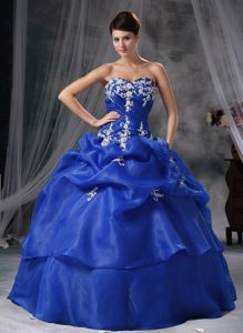 New Arrival Blue Pick Ups Appliqued Quinceanera Party Dresses