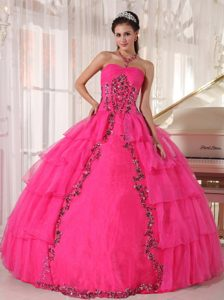 2012 Popular Hot Pink Sweetheart Ball Gown Quinceanera Dress