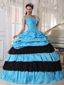 V-neck Pick Ups Flowers Blue and Black Quinceanera Dresses