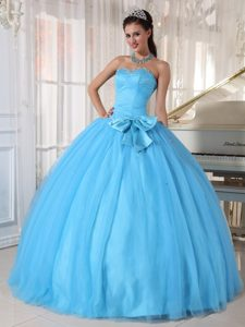2013 Modest Ball Gown Aqua Blue Sweet 15 Dress with Bowknot