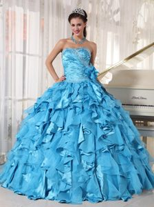 Mature Beaded Ruffled Ball Gown Teal Sweet 16 Dresses Factory