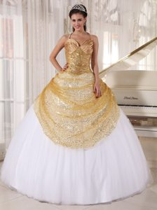 Discount Halter Top White and Gold Sequins Dress for Sweet 16