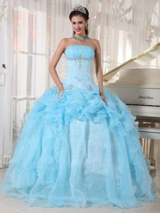 Elegant Baby Blue Ball Gown Beaded Dress for Quince in Mixco
