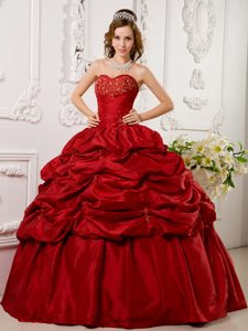 Affordable Red Pick Ups Appliqued Quinceanera Dresses online