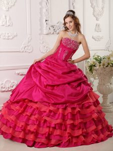 Ruffled Layers Strapless Beaded Red Sweet 15/16 Birthday Dress