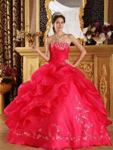 Coral Red Strapless Embroidery Sweet 16 Dresses on Promotion