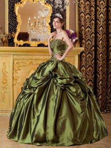 Cheap Strapless Olive Green Appliqued Flower Dress for Quince