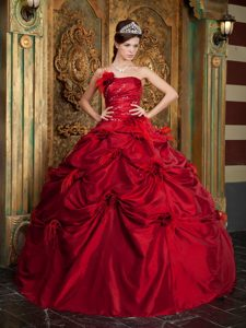 Unique Red Strapless Pick Ups Beaded Feather Quinceanera Dress