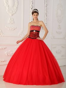Beaded Red Ball Gown Quince Dresses with Zebra Print for Cheap