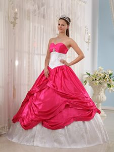 Appliqued White and Hot Pink Taffeta Quince Dresses with Pick ups