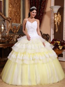 White and Yellow Quince Dresses with Appliques and Spaghetti Straps