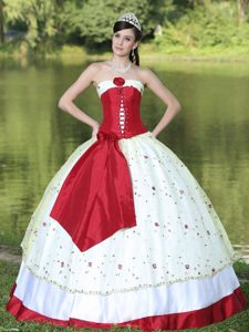 Queretaro Mexico Red and White Quinceanera Gown with Embroidery