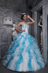 White and Blue Quinceanera Dress with Appliques and Ruffles 2014