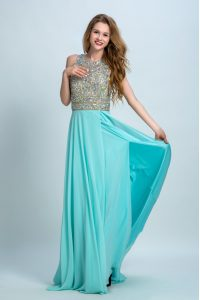 Spectacular Scoop With Train Backless Mother Of The Bride Dress Aqua Blue for Prom and Party with Beading Brush Train