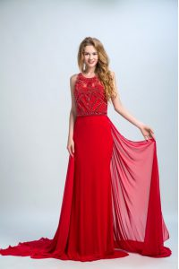 Latest Scoop Sleeveless Mother Of The Bride Dress With Train Court Train Beading Red Chiffon