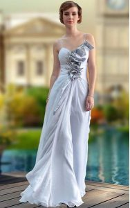 Silver V-neck Neckline Beading and Ruching Prom Party Dress Sleeveless Zipper
