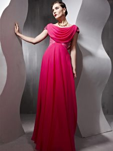 Graceful Hot Pink Side Zipper Scoop Beading and Ruching Chiffon Cap Sleeves