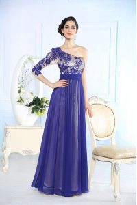 Empire Dress for Prom Blue One Shoulder Chiffon Long Sleeves Floor Length Side Zipper