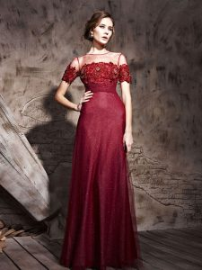 Fashionable Burgundy Mother Of The Bride Dress Prom and Party and For with Beading Scoop Short Sleeves Zipper