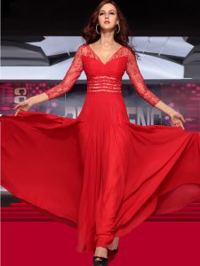 New Style Sleeveless Floor Length Lace Zipper Mother Of The Bride Dress with Red