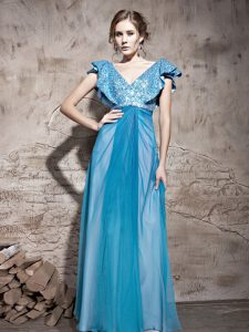 Most Popular Cap Sleeves Zipper Floor Length Sequins Prom Party Dress