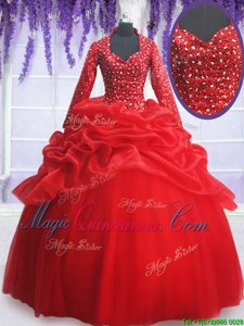 Enchanting Red Sweetheart Zipper Beading and Sequins and Pick Ups 15th Birthday Dress Long Sleeves