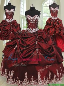 Four Piece Wine Red Lace Up Sweetheart Beading and Appliques and Pick Ups Quinceanera Gown Taffeta Sleeveless