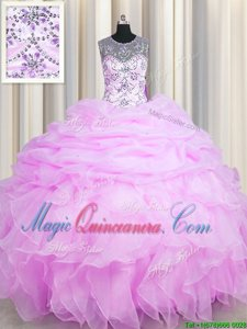 See Through Lilac Lace Up Quinceanera Dresses Beading and Ruffles and Pick Ups Sleeveless Floor Length