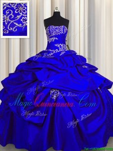 Fantastic Pick Ups Royal Blue Sleeveless Taffeta Lace Up Quinceanera Dresses for Military Ball and Sweet 16 and Quinceanera