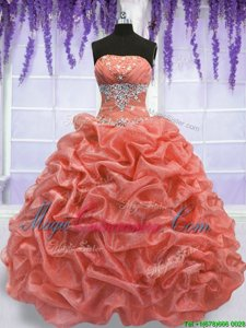 Floor Length Lace Up Quinceanera Gown Watermelon Red and Coral Red and In for Military Ball and Sweet 16 and Quinceanera and Beach with Beading