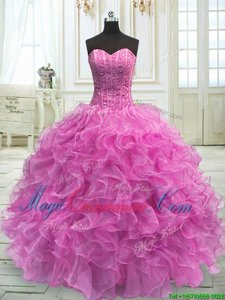 Hot Sale Lilac Sleeveless Floor Length Beading and Ruffles Lace Up Quinceanera Dresses