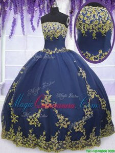 Most Popular Navy Blue Zipper Strapless Appliques Sweet 16 Quinceanera Dress Tulle Sleeveless
