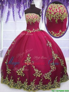 Strapless Sleeveless Tulle Quinceanera Dresses Appliques Zipper