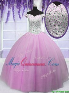 Off the Shoulder Lilac Short Sleeves Floor Length Beading Lace Up Quinceanera Dresses