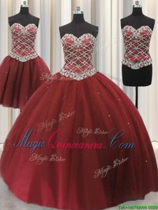 Fine Three Piece Burgundy Lace Up 15th Birthday Dress Beading and Sequins Sleeveless Floor Length