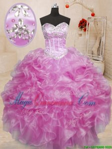 Hot Selling Lilac Sleeveless Organza Lace Up Quinceanera Dresses for Military Ball and Sweet 16 and Quinceanera