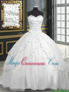 Charming Sleeveless Tulle With Brush Train Lace Up 15 Quinceanera Dress in White for with Beading and Appliques