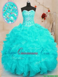 Charming Sweetheart Sleeveless Organza Quinceanera Dresses Beading and Ruffles and Sequins Lace Up