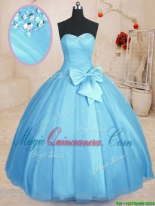High Class Sweetheart Sleeveless Lace Up 15 Quinceanera Dress Baby Blue Tulle