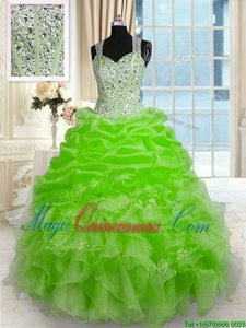 Organza Sleeveless Floor Length 15 Quinceanera Dress and Beading
