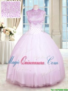 Lilac Tulle Zipper High-neck Sleeveless Floor Length Quinceanera Dresses Beading