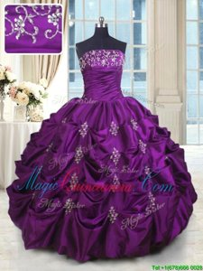 Dramatic Eggplant Purple Ball Gowns Beading and Appliques and Embroidery and Pick Ups Sweet 16 Quinceanera Dress Lace Up Taffeta Sleeveless Floor Length